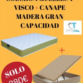 PACK COLHON MUELLE VISCO + CANAPE MADERA
